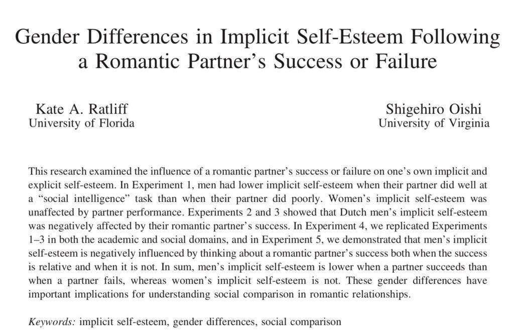 在佛羅里達大學進行的一項研究,當女伴有所成就時,男方的自尊心通常也會受到巨大的打擊。