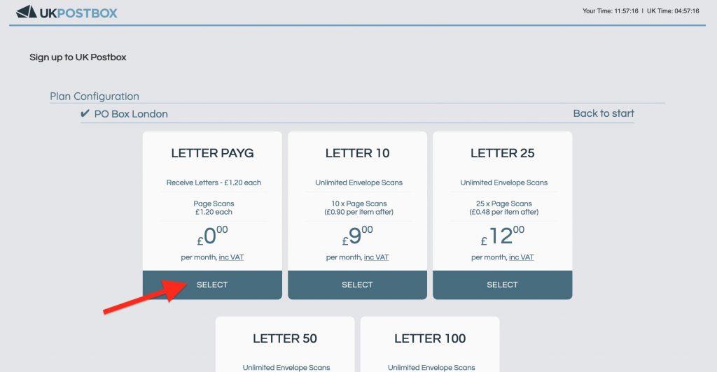 之後揀Letter PayG,這個plan是零月費的,收到信先會收錢。收一封信收你£1.2。大概$9.6蚊港紙
