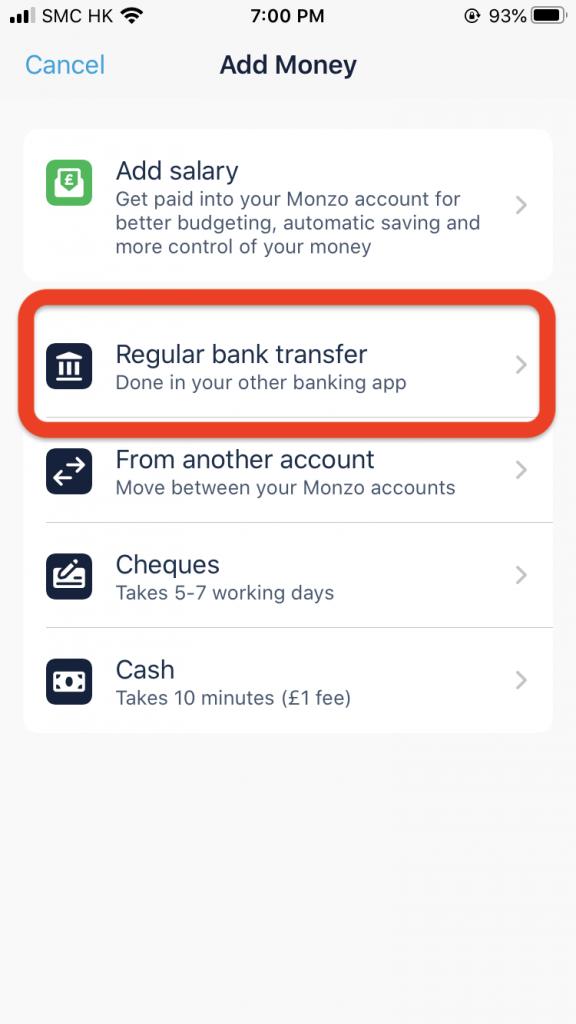 再選擇Regular Bank Transfer。