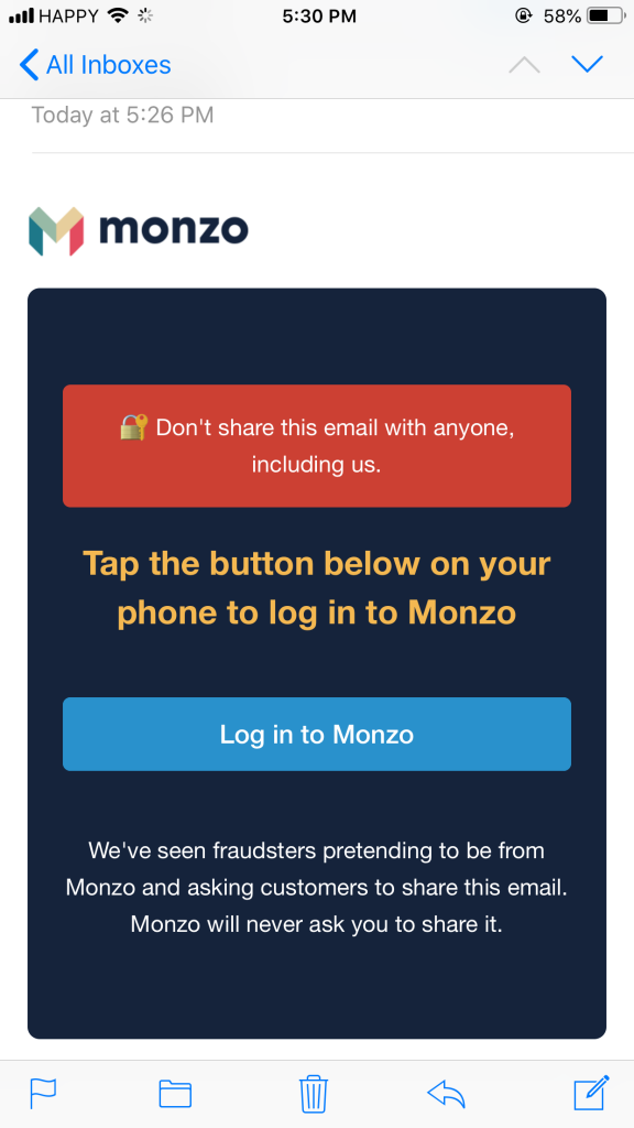 """按最底下藍色  """"Log in to Monzo"""""""