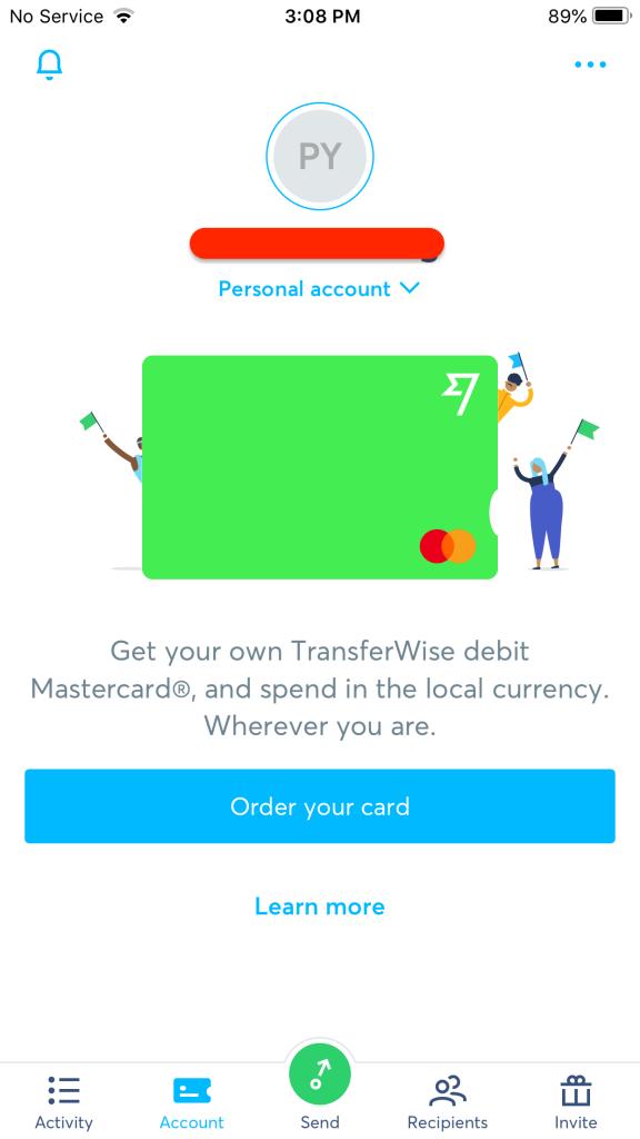 之後儲存完畢後你便會立即被彈跳到這個頁面,沒有錯你已經是TransferWise Borderless Account,也即是可以申請你的Debit Card 了!